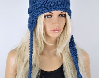 Hat, Knit hat, Chullo, Ear Flap Hat, Pom Pom Hat, Winter Hat, Handmade Hat, Chullo Hat, Blue Earflap, Wool Hat, Fashion Hat