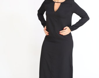 Black maxi long dress casual  oversized loose Day Dress with long sleeve