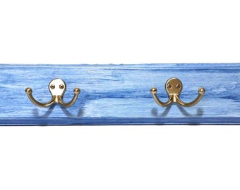 """Wall Rack """"Wood"""" for Hanging Backpacks, Jackets, Scarfs, Towels, Accessories or Other -  Blue """"Weathered Look"""" w/ Double Silver Hooks"""