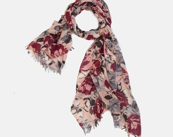 Roses Printed Scarf. light Viscose scarf. Dusty Pink soft Scarf with Grey & Maroon Roses Print. Gift scarf. floral scarf