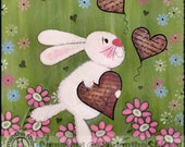 Kids Art Canvas Panel Children's Decor - Rabbit Valentines - Girls Room Kids Wall Art for Baby Nursery, Child & Teen - Some Bunny Loves You