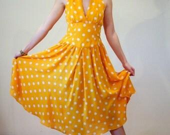 Sundance, 80s Halter Dress S M, Yellow Polka Dot Sundress, Retro Dress, Dotted V Neck Full Skirt Vintage Dress, R&K Originals