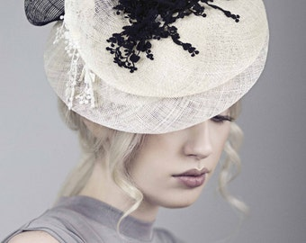 Races Fascinator, Occasion Hat, Black and White, Wedding Hats, SS2016 - Su