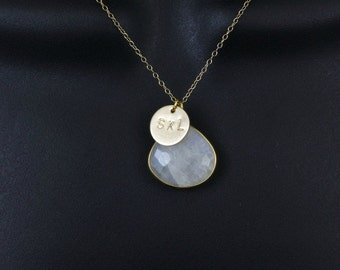 Moonstone Necklace, Gold Initial Necklace,3 Initial Necklace,Mothers Necklace,Disc Necklace,Custom Hand Stamped,June Birthstone,Personalized