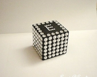"""BLING CUBE PAPERWEIGHT - Decorative 2"""" Cube w/ Personalized Bling Letter/Initial in Clear Rhinestones for Desktop/Tabletop"""