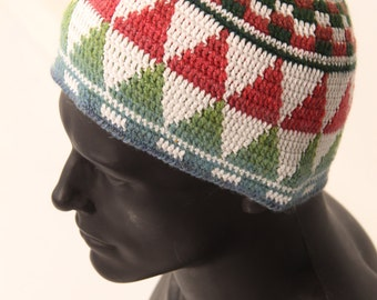 Men's skullcap, white hat with ornaments, yoga cotton hat with wool