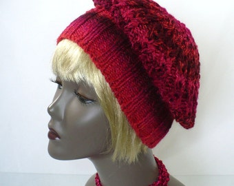 Hand Knit Red Tam: Lacy Knit Slouchy Hat, Red Striped Hat, Vegan Hat, Women's Hats, Convertible Style, Handmade in the USA, Ready to Ship