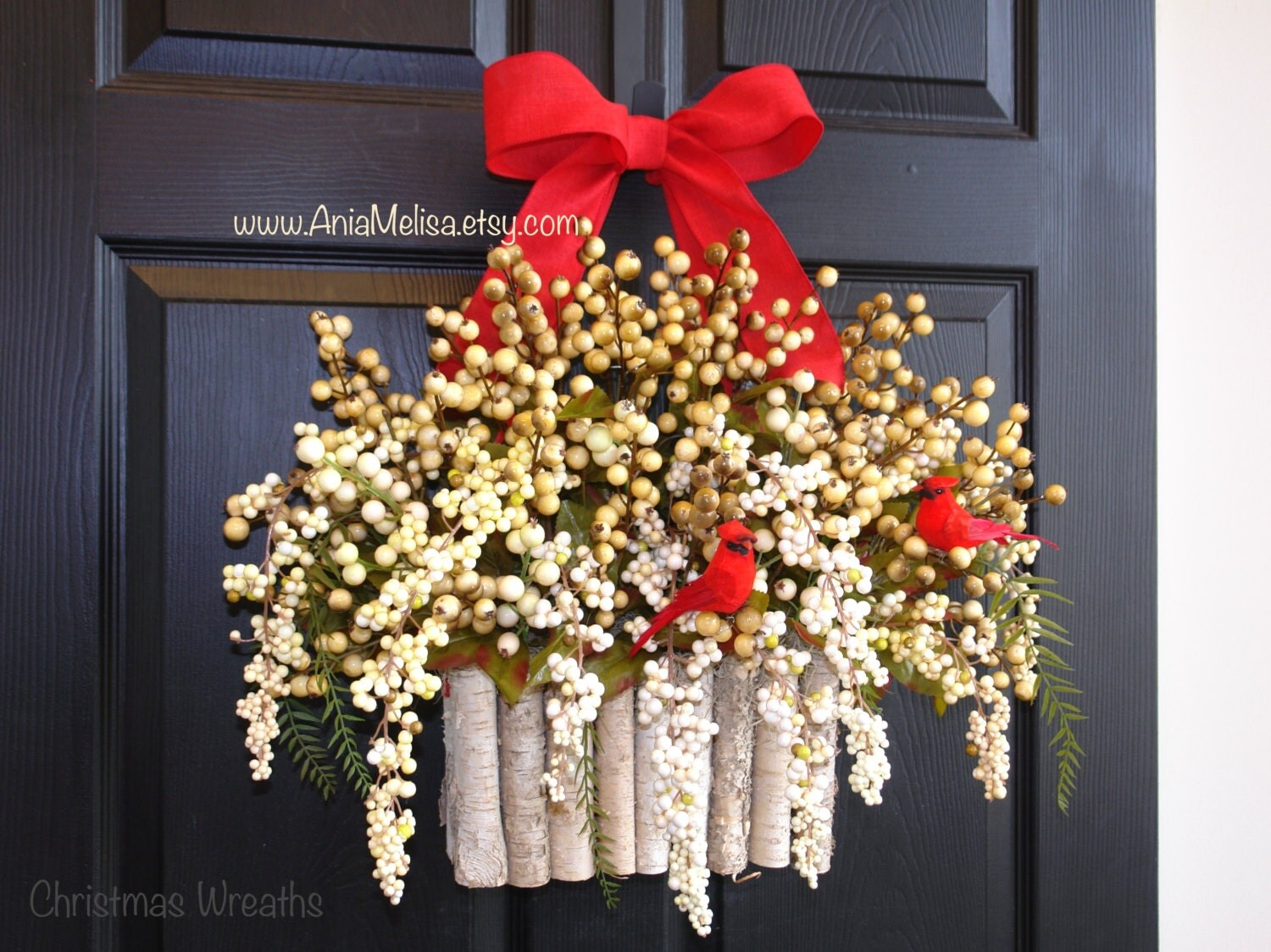 Holiday wreath christmas wreaths for front door wreaths winter for Front door xmas wreaths