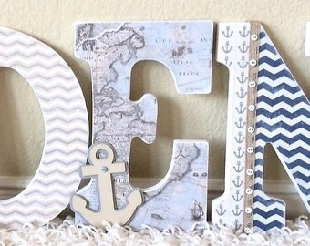 Baby Boy Nursery, Personalized Name Sign, Nautical, Wooden Wall Letters -Baby Gift, Custom Name, Boy Nursery Decor, Kids Wall Art