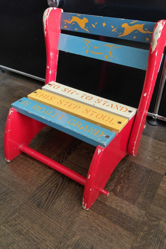 Retro 50s Childrens folding step stool and chair