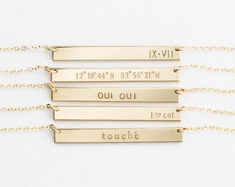 Name Bar Necklace, Personalized 14k Gold Filled, Sterling Silver, or Rose Gold Filled Perfect Bar / GLDN Nameplate Necklace, SERRA NECKLACE