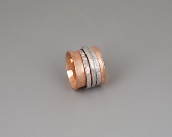 Spinner Ring, Rose Gold Sterling Silver Spinner Ring, Meditation Ring, Chunky Ring, Boho Ring, Wide Ring, Large Statement Ring, Wedding Band