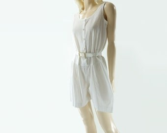 Vintage White Romper, 80s Jumpsuit Shorts, 1980s Playsuit, White Cotton Romper, 1980s Vintage Romper, White Romper, 80s White Jumpsuit, s