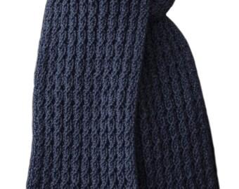 Hand Knit Scarf - Blue Italian Zara Wool Cable Rib