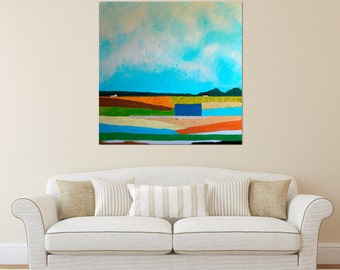Barn Painting - Farm Painting, Landscape painting, Abstract Barn Painting, Farmhouse Art, Abstract landscape painting