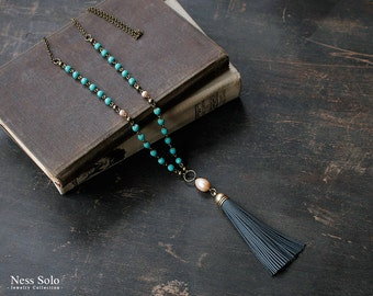 Leather tassel necklace Bohemian jewelry Boho beaded necklace Long turquoise bead necklace Pearl pendant necklace Boho jewelry by Ness Solo