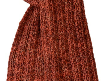 Hand Knit Scarf - Bittersweet Orange Cashmere Squeeze Trail Ridge Rib