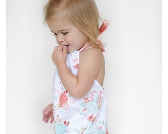 Baby Girl Romper, Halter Sunsuit, Toddler Romper, Summer Playsuit, Floral Romper - Sweet Cheeks