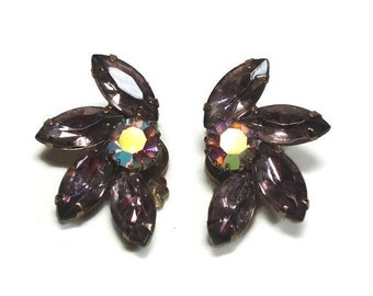 50s Halved Flower Clip-on Earrings with Prong Set Royal Purple Amethyst Navettes and AB Crystals - Vintage 50's Rhinestone Costume Jewelry