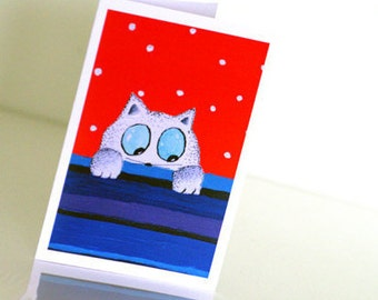 Carte anniversaire Cat painting Paper goods Birthday card Funny card White red blue cat card Funny animal birthday card White cat card