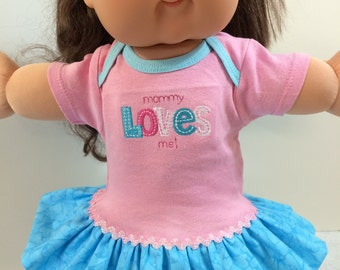 "Cabbage Patch 16 inch KIDS Doll Clothes, ""Mommy LOVES Me!"" Pink/Blue Ruffle & Trim Dress, 16 inch CPK Kids Doll Clothes, Fits 15 inch Bitty"