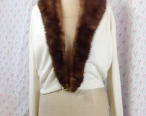 Price reduction ! Stunning 1950's white Orlon cardigan/jacket with detachable mink collar/rhinestone clasp