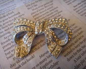 Vintage Stunning Beautiful Rhinestone Bow Ribbon Brooch Pin Pendant Pin Vintage Jewelry