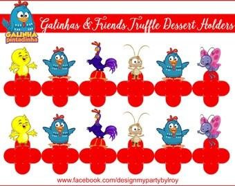 24 GALINHA PINTADINHA HOLDERS,Galinha Pitadinha Party Decor,Forminas, Galinha Candy Holders,Forminhas, Brigadeiros, Galinha and Friends.