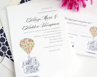 Disney Inspired UP Wedding Invitations (Sold in Sets of 10 Invitations, RSVP Cards + Envelopes)