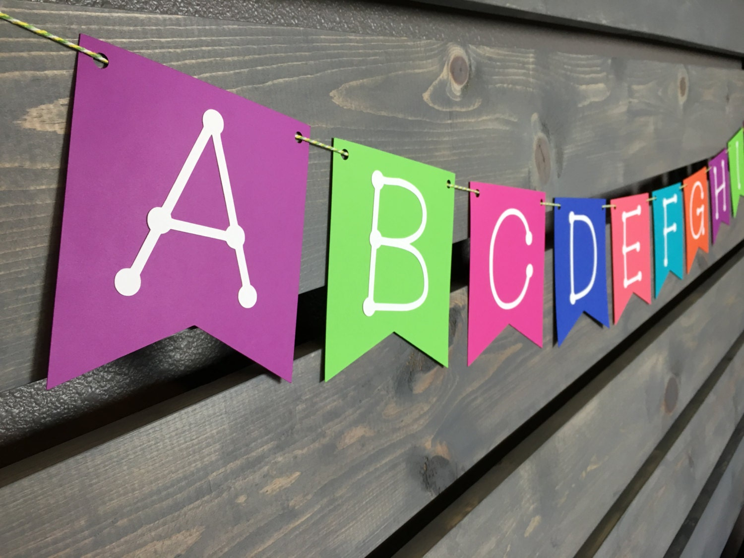 Bright alphabet banner abc banner bright colors for Alphabet decoration