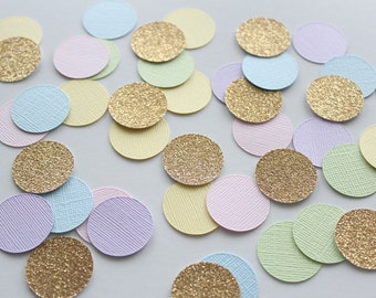 "Pastel and Gold 1"" Circle Confettil / 150 Count/ Party Decoration/ Birthday/ Wedding/ Bridal Shower/ Baby Shower/ Table Confetti"