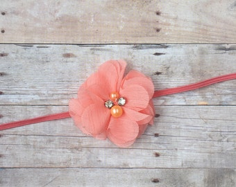 Coral Chiffon Flower Baby Headband