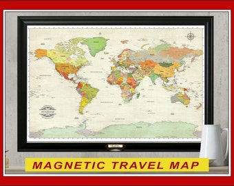 MAGNETIC Travel Map. Personalized Map.  24x36 World Travel Map with Magnets.  Solid Wood Frame Choice. New Map for 2016