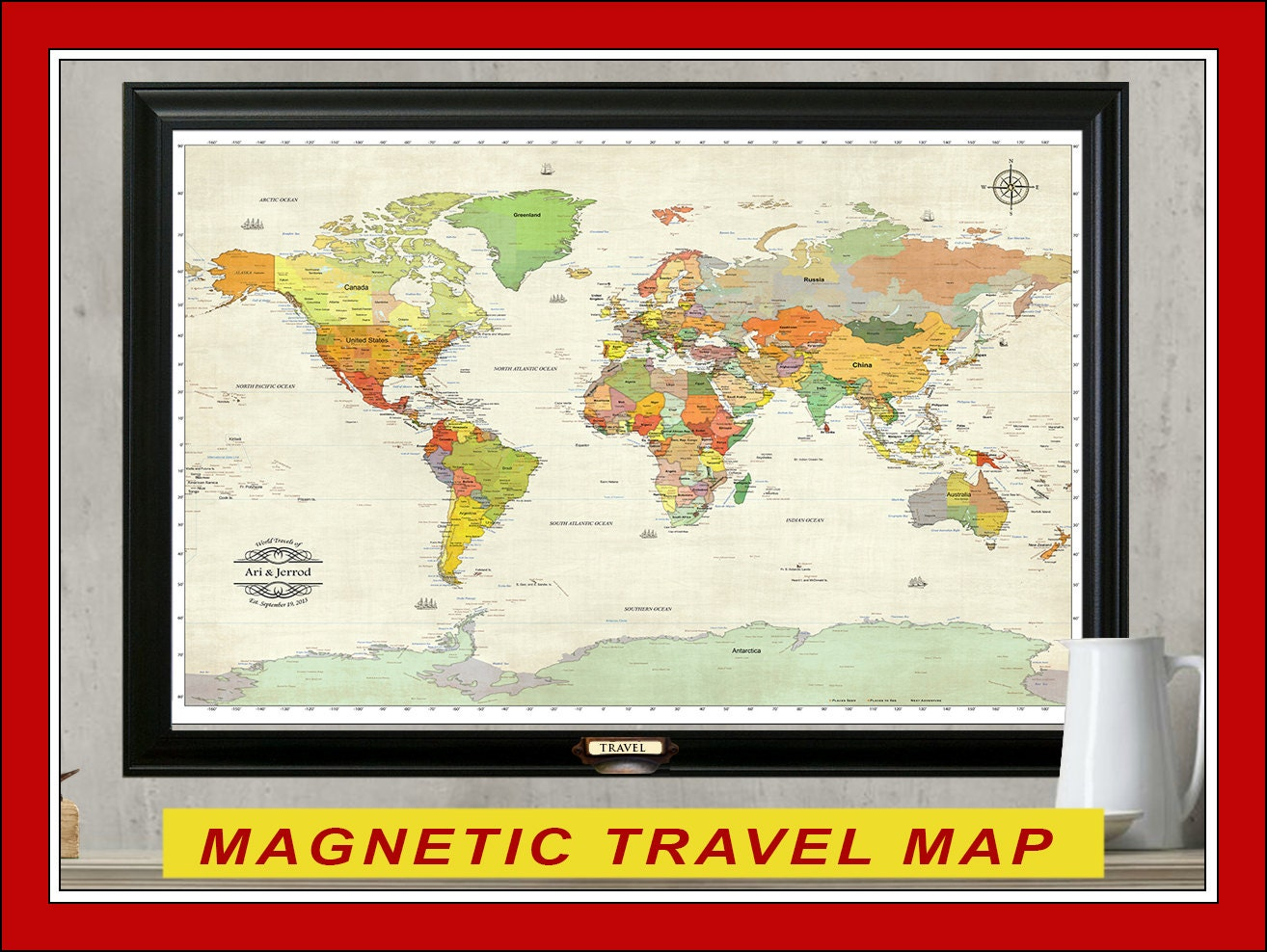 Magnetic Travel Map Personalized Map 24x36 World Travel Map