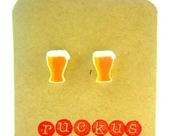 Beer Stud Earrings, Beer Jewelry, Beer Post Earrings, Beer Accessories, Beer Gag Gift, Beer Lover Gift, Octoberfest, Beer Gift, Cheers