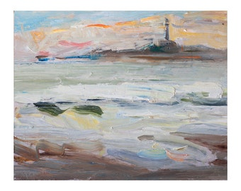 The Sunrise, the Sea and the Lghthouse - Original Plein Air Oil Painting, Outdoor Paintings Seascape Seascapes Waves Coast Sky Impressionist