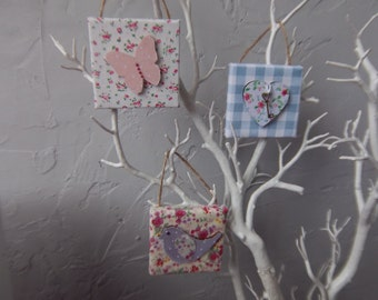 Mini fabric covered canvases (individual or set from 4.00) hesrt butterfly bird