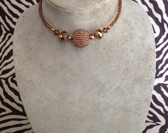 Memory Wire Wrap Necklace, Gold, Amber