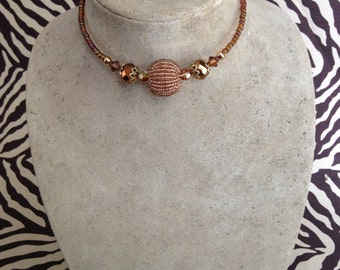 Memory Wire Wrap Necklace Choker, Gold, Amber