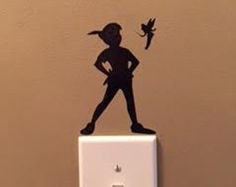 Peter Pan and Tinkerbell decal, FREE SHIPPING, Black vinyl decal, light switch decal, home decor decal, kids room decor #210