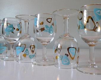 Boomerang Amoeba Federal Wine Glasses - Set of 6 - Atomic Mid Century Modern Aqua Turquoise Gold