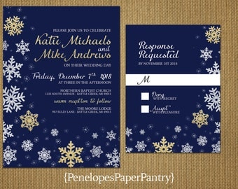 Snowflake Winter Wedding Invitation,Navy,Gold Glitter Print,White Snowflakes,Shimmery,Elegant,Traditional,Formal,Custom,Printed Wedding Set