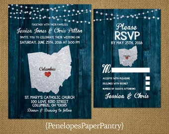 State of Ohio Destination Wedding Invitations,Rustic,Blue Wood,Silver GlitterPrint,Strands of Lights,Opt RSVP,Customizable with Envelopes