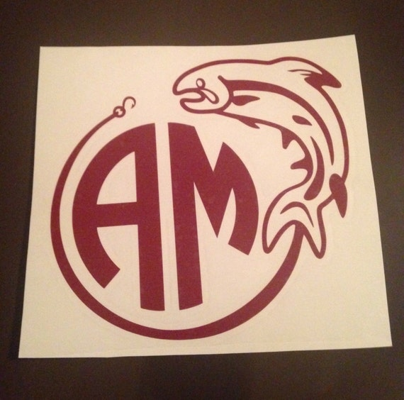 Monogrammed fish decal yeti cup truck decal guy decals for Fishing yeti decal