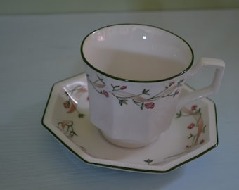 Pretty vintage tea cup and saucer set, floral with octagonal saucer.