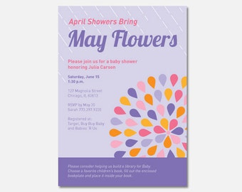 Printable April Showers Bring May Flowers baby shower party invitation