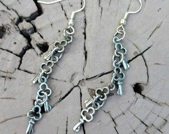 Silver Key Dangle Earrings Make a Splash