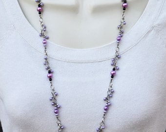 Purple and Silver Necklace and Earring Set with a hint of Black
