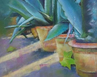 Original small oil painting of aloe, terracotta pots, garden