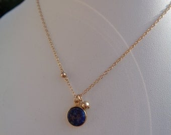 Gold necklace with lapis lazuli pendant, 585 gold filled, double - ring with ball